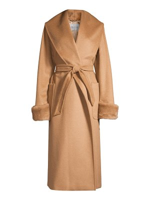 Max Mara christy mink fur-trim camel wool wrap coat