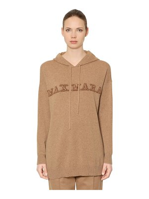 Max Mara Hooded logo intarsia cashmere sweater