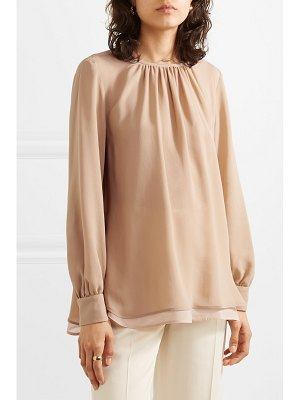 Max Mara layered silk crepe de chine and chiffon blouse