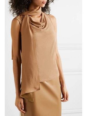 Max Mara madera satin-jersey and silk-georgette top