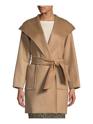 Max Mara Rialto Camel Hair Belted Short Hooded Coat