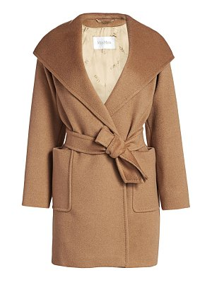 Max Mara rialto icon camel hair wool hooded wrap coat
