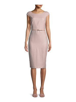 Max Mara Round-Neck Cap-Sleeve Belted Pencil Dress