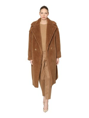 Max Mara Teddy camel & silk blend coat
