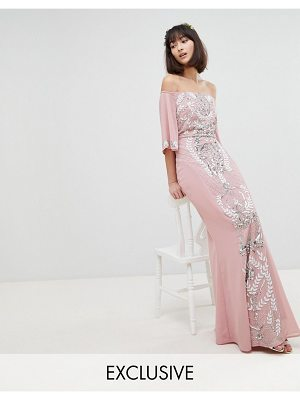 Maya all over embellished bardot maxi bridesmaid dress with fluted sleeves