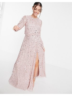Maya all over embellished maxi dress with slit in frosted pink