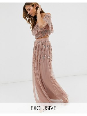 Maya all over embellished maxi skirt in mauve