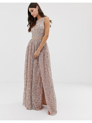 Maya allover contrast tonal delicate sequin dress with satin waist in taupe blush-brown