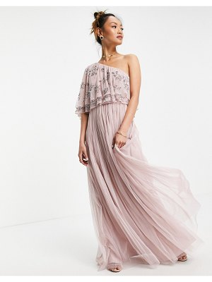 Maya asymetirc embellished top maxi dress in frosted pink