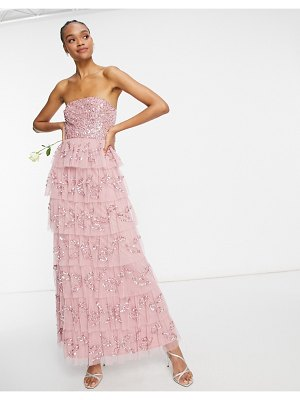 Maya bandeau all over embellished tiered maxi dress in rose pink