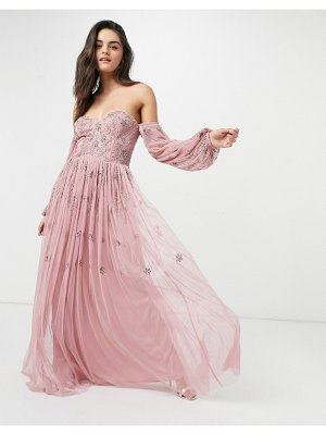 Maya bardot long sleeve tulle maxi dress with tonal delicate floral sequin in rose pink