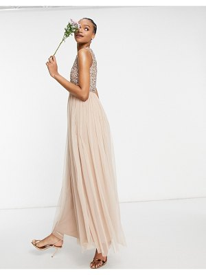 Maya bridesmaid 2 in 1 maxi tulle dress with tonal delicate sequins in taupe blush-pink
