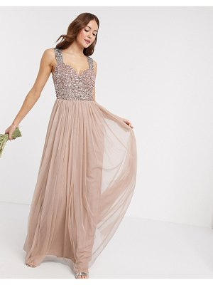 Maya bridesmaid allover contrast sequin bust maxi dress in taupe blush-pink