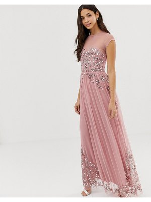 Maya allover premium embellished mesh cap sleeve maxi dress in vintage rose-pink