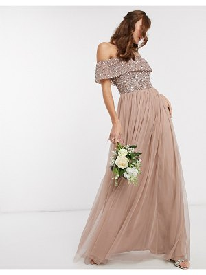 Maya bridesmaid bardot maxi tulle dress with tonal delicate sequins in taupe blush-brown