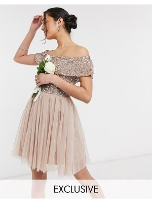 Maya bridesmaid bardot mini tulle dress with tonal delicate sequin in taupe blush-pink