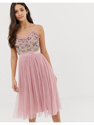 Maya cami strap contrast embellished top tulle detail midi dress in vintage rose