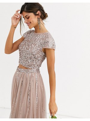 Maya bridesmaid delicate sequin top two-piece in taupe blush-brown