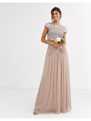 Maya bridesmaid delicate sequin tulle skirt two-piece in taupe-brown