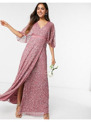 Maya bridesmaid delicate sequin wrap maxi dress in rose-pink