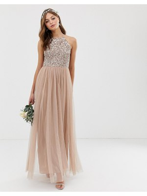 Maya bridesmaid halter neck maxi tulle dress with tonal delicate sequins in taupe blush-brown
