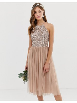 Maya bridesmaid halter neck midi tulle dress with tonal delicate sequins in taupe blush
