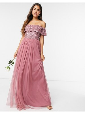 Maya bridesmaid off-the-shoulder maxi tulle dress with tonal delicate sequins in rose-pink