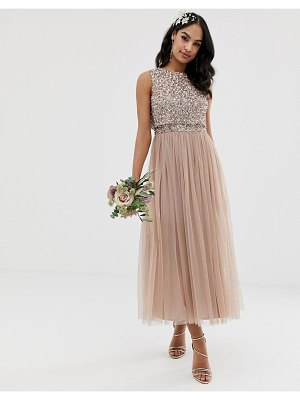 Maya bridesmaid sleeveless midaxi tulle dress with tonal delicate sequin overlay in taupe blush