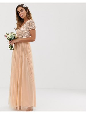 Maya bridesmaid v neck maxi dress with delicate sequin in soft peach