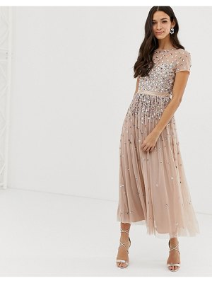 Maya cap sleeve midaxi dress with applique delicate sequins in taupe blush-brown
