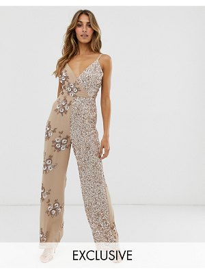 Maya contrast embellished wrap front jumpsuit in taupe blush