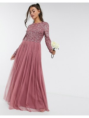 Maya delicate sequin long sleeve maxi dress with ruffle detail with tulle skirt in rose-pink