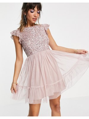 Maya embellished top mini dress in frosted pink