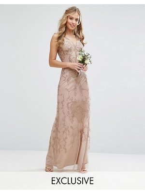 Maya Embroided Maxi Dress With Beading And V Plunge