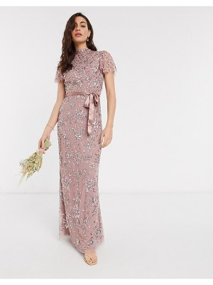 Maya high neck all over floral embellished maxi dress with satin belt maxi dress in pink