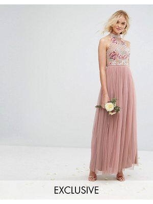 Maya High Neck Embroidered Rose Tulle Maxi Dress