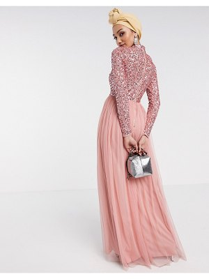 Maya long sleeve maxi tulle dress with tonal delicate sequins in coral-pink