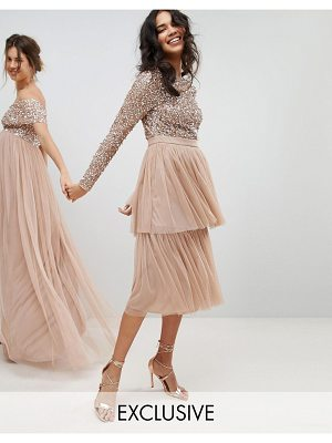 Maya long sleeve sequin top midi dress with tiered tulle skirt