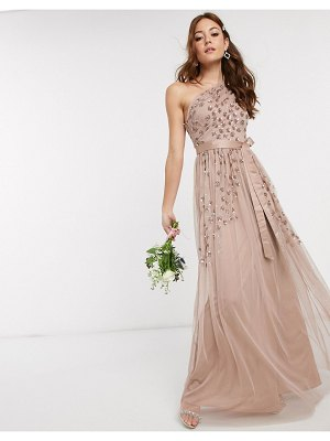 Maya one shoulder embellished maxi dress in taupe blush-brown