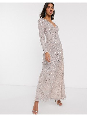 Maya premium embellished maxi wrap dress in gold