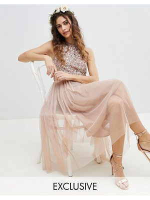 Maya sleeveless sequin bodice tulle detail midi bridesmaid dress with cutout back