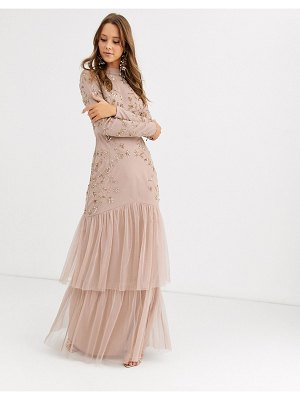 Maya tiered maxi dress with embellishment in taupe-pink