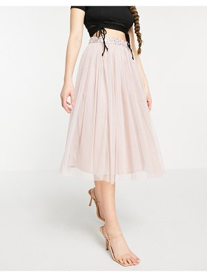 Maya tulle midi skirt set with slit in frosted pink