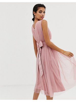 Maya tulle v neck midi dress