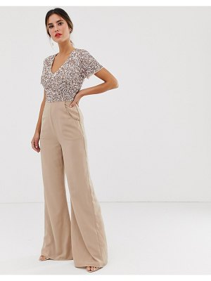 Maya v neck delicate sequin jumpsuit in taupe blush