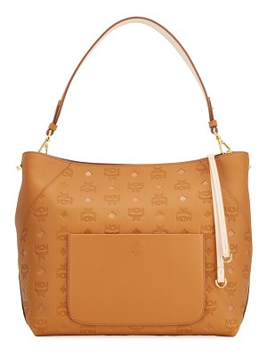 MCM Klara Medium Monogrammed Leather Hobo Bag