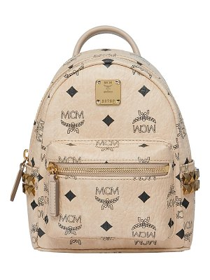MCM mini stark studded convertible visetos coated canvas backpack