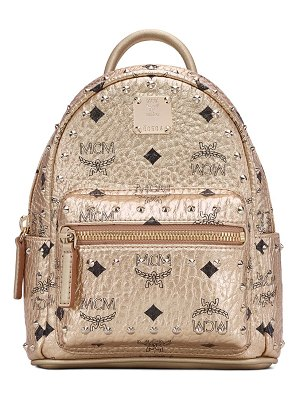 MCM x-mini stark stud coated canvas backpack