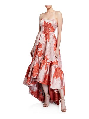 Mestiza New York Georgiana Floral High Low Strapless Gown