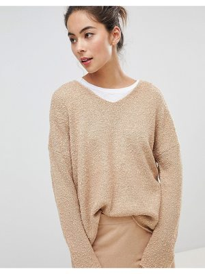 MICHA LOUNGE Boucle Oversized Sweater In Camel